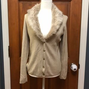 Banana Republic Faux Fur Collar Sweater